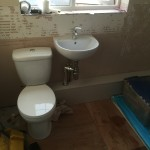 Lovely new toilet and basin with boxed in soil pipe (pleased with my handy work too)